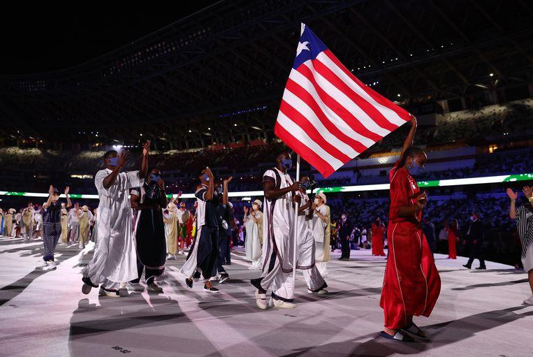 De afvaardiging van Liberia op de Spelen, gekleed door Telfar Clemens. Beeld REUTERS
