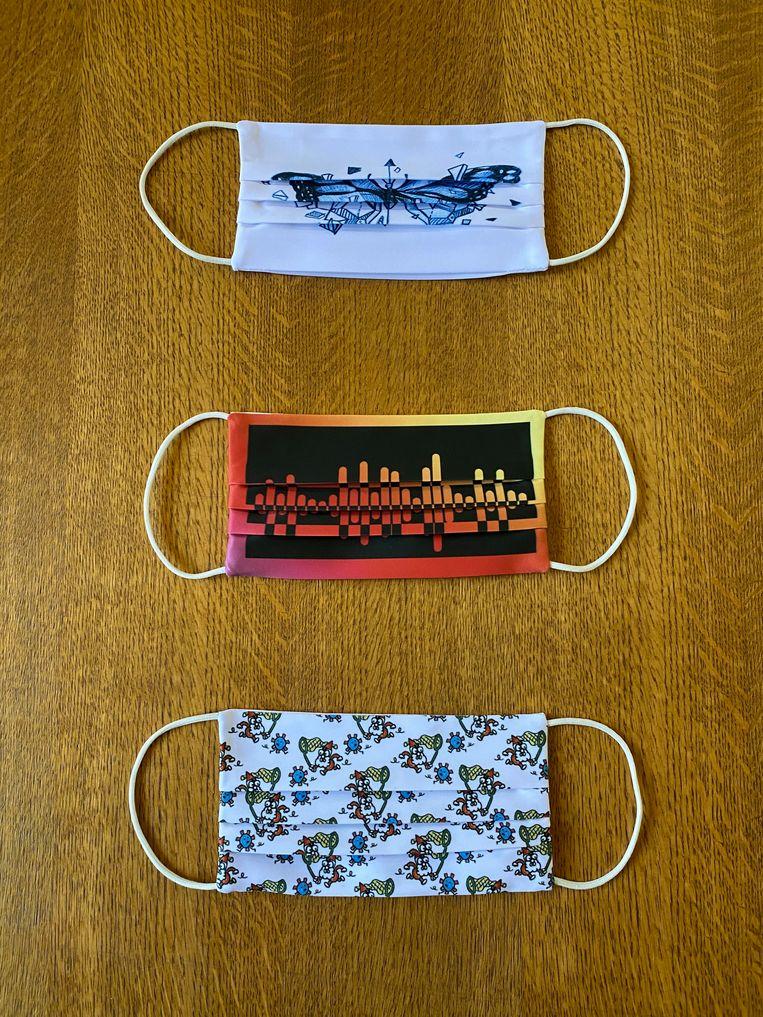 Onderaan: het ontwerp van Jonas Geirnaert, bovenaan: de twee winnende ontwerpen van de wedstrijd van mondmaskers.gent.