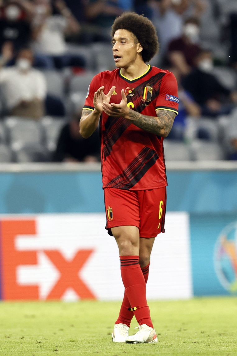 Belgium's Axel Witsel reacts during the quarter-finals game of the Euro 2020 European Championship between the Belgian national soccer team Red Devils and Italy, in Munich, Germany, Friday 02 July 2021. BELGA PHOTO BRUNO FAHY Beeld BELGA