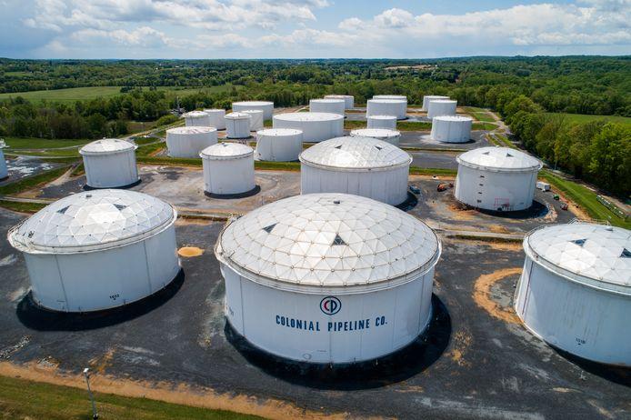 Enkele olietanks in de VS die zijn verbonden met de Colonial Pipeline.