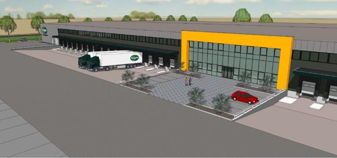 Artist impression van het nieuwe distributiecentrum van Sligro aan de Kapittelweg in Breda.
