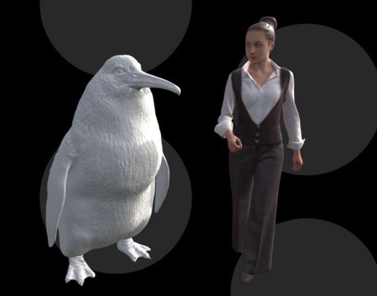 De reuzenpinguïn is bijna even groot als een mens. Beeld Canterbury Museum