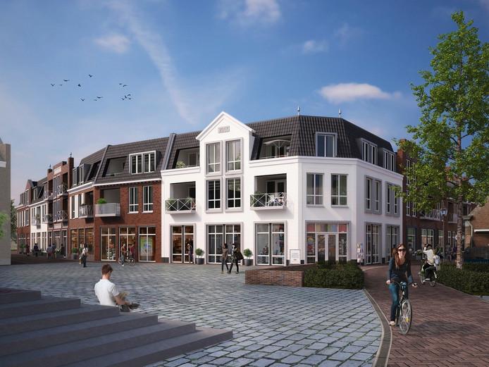 Aanzicht van het nieuwe Albert Heijn blok vanaf het Petrus Dondersplein.