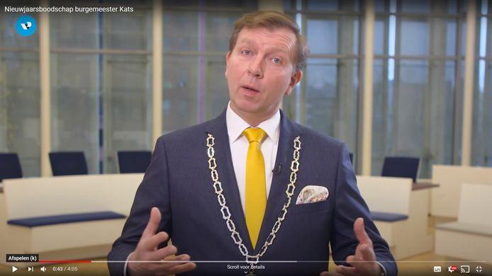 Burgemeester Gert-Jan Kats van de gemeente Veenendaal tijdens zijn nieuwjaarstoespraak.