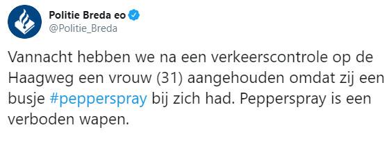 Tweetje van politie Breda over aangehouden vrouw (31) met illegaal busje pepperspray.