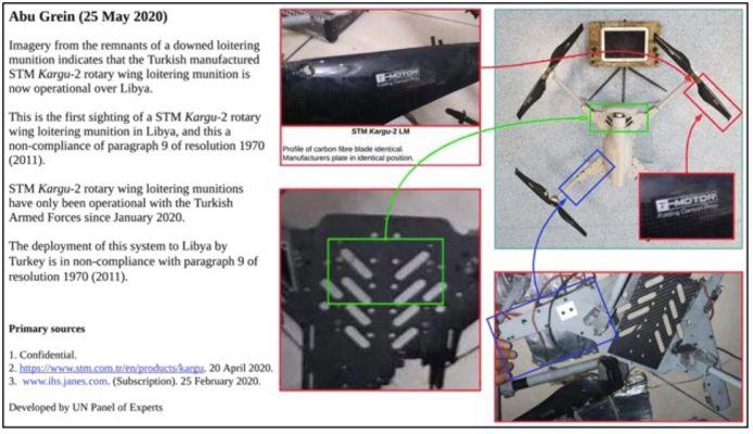 De VN toont in het rapport deze beelden van een neergehaalde drone.
