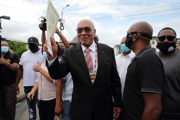 De Surinaamse oud-president Desi Bouterse arriveert bij de krijgsraad. Beeld ANP