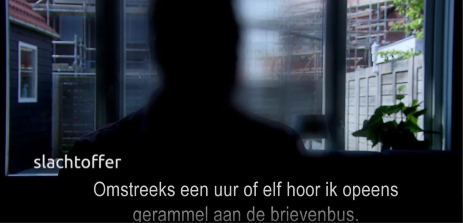 Beeld uit Opsporing Verzocht over de aanslag in Middelburg.