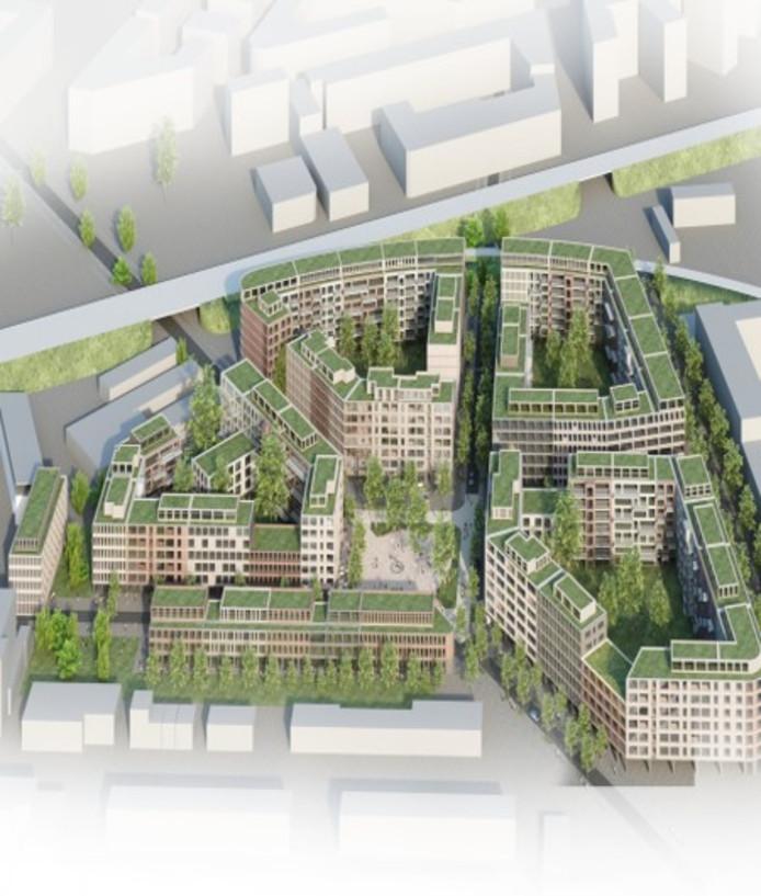 In de binnenstad van Frankfurt komen 1200 woningen in een voormalig kantorengebied dat is herontwikkeld door Breevast.