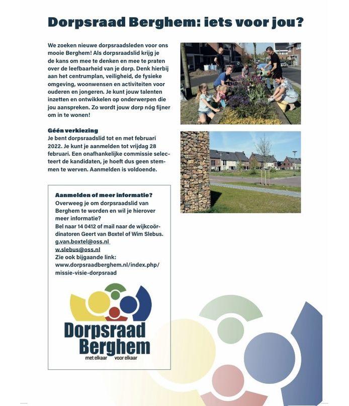 Begin dit jaar startte een campagne om nieuwe leden te werven voor Dorpsraad Berghem.