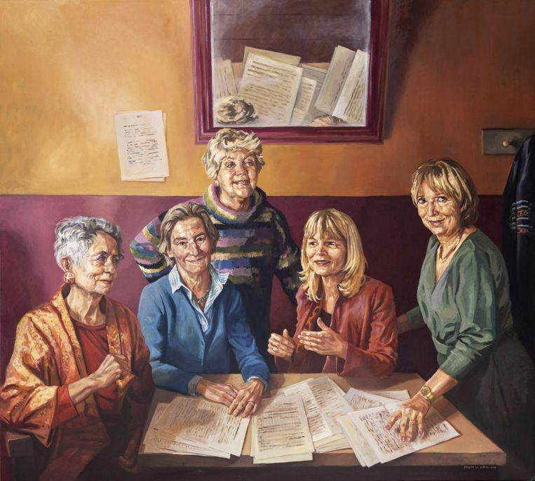 Schilderij met v.l.n.r. de hoogleraren Mieke Bal, Anne van Grevenstein-Kruse, Aafke Hulk, José van Dijck en Marita Mathijsen. Beeld Rogier Willems