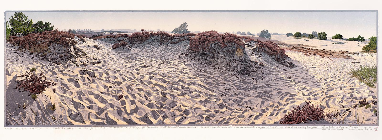 Houtsnede van het Aekinger Zand.