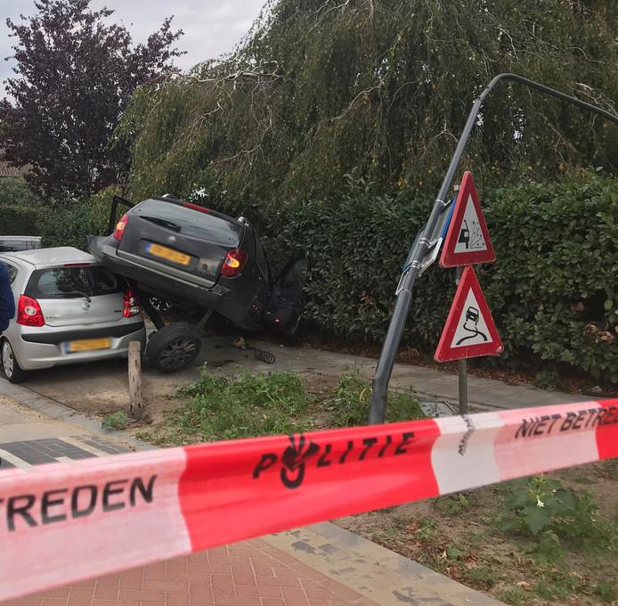 De gecrashte auto