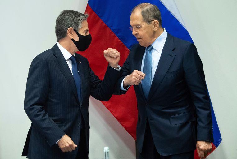 De buitenlandministers van de VS en Rusland, Anthony Blinken en Sergej Lavrov. Beeld AP