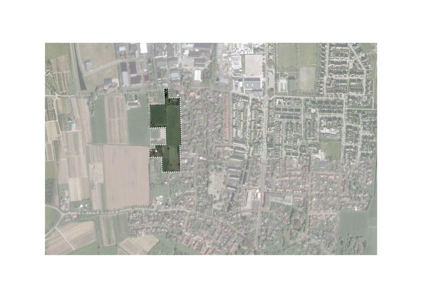 In donkergroen aangegeven de locatie voor Fructus aan de westkant van Dodewaard