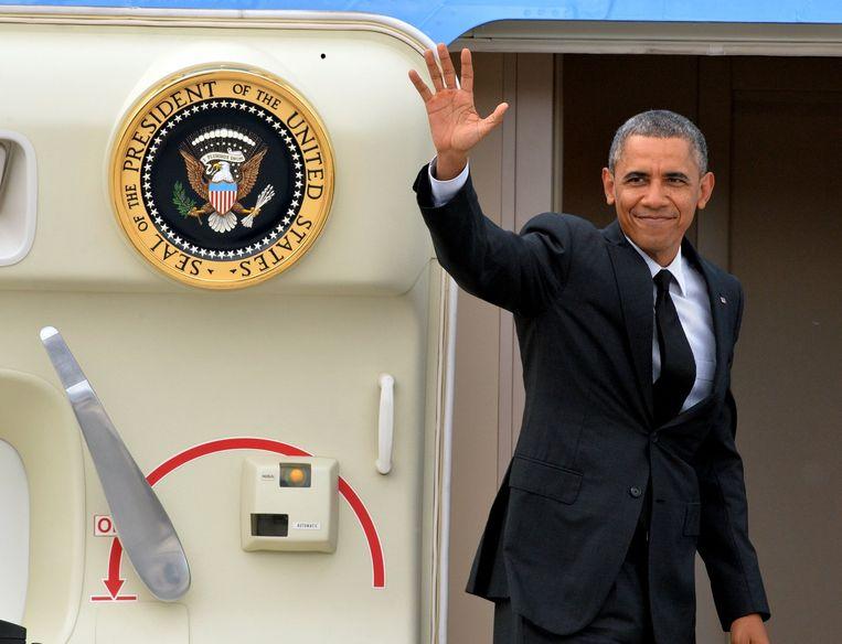 De Amerikaanse president Obama in Melsbroek. Beeld BELGA