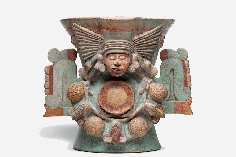 Wierookbrander van de godin van het zoete water; aardewerk en pigment, Museo de Antropología, 1450-1520, 55 x 64 x 49 cm. Beeld