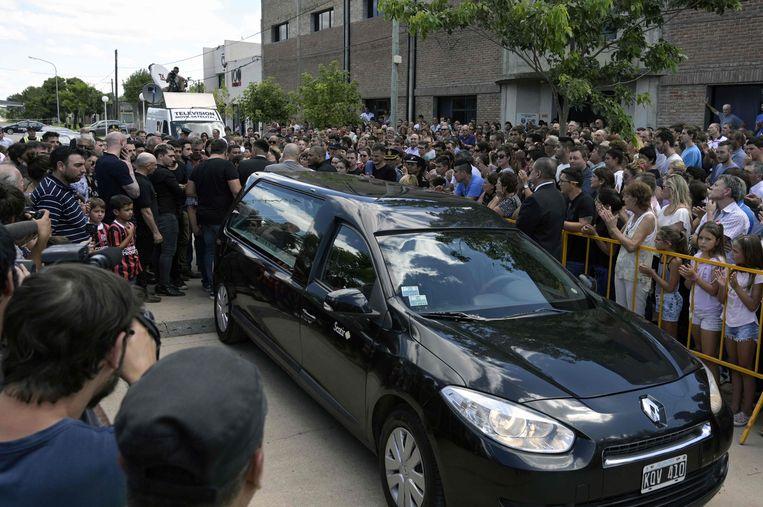 Een beeld van de begrafenis van Emiliano Sala.