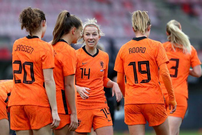 Jackie Groenen was in Nijmegen een van de vijf doelpuntenmakers voor Oranje.