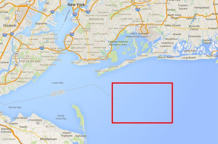 De plek voor de baai van Rockaway en New Jersey waar de bultruggen dit jaar regelmatig werden gespot. Beeld Screenshot Google Maps