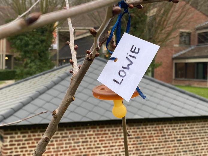 Een eerste tutje werd donderdag al in de boom gehangen.
