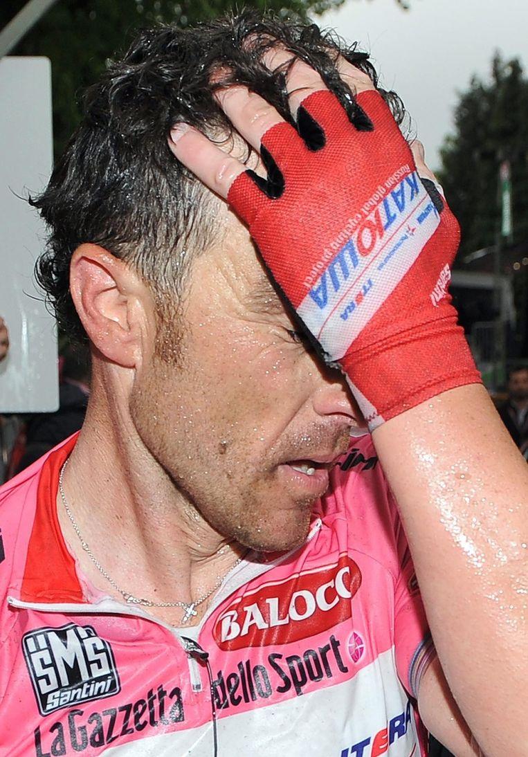 Paolini behoudt zijn roze trui maar moest duidelijk diep gaan. Beeld EPA