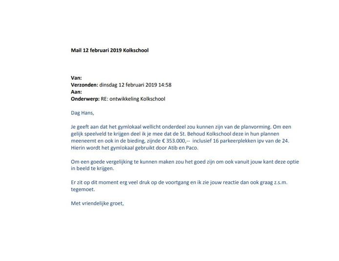 De e-mail die de ambtenaar in februari van dit jaar aan Kloos 2 verstuurde, met de bieding van Schoonebeek.