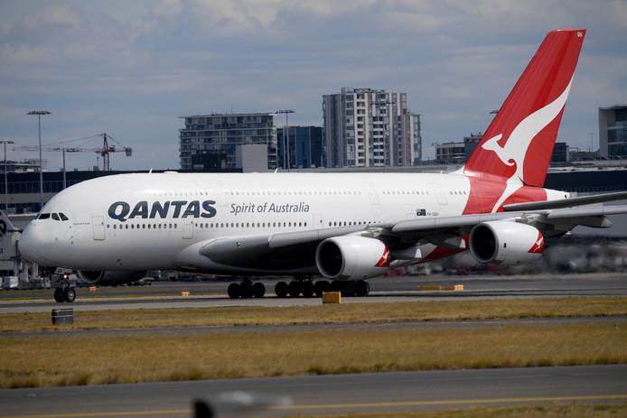 Een vliegtuig van de Australische luchtvaartmaatschappij Qantas.