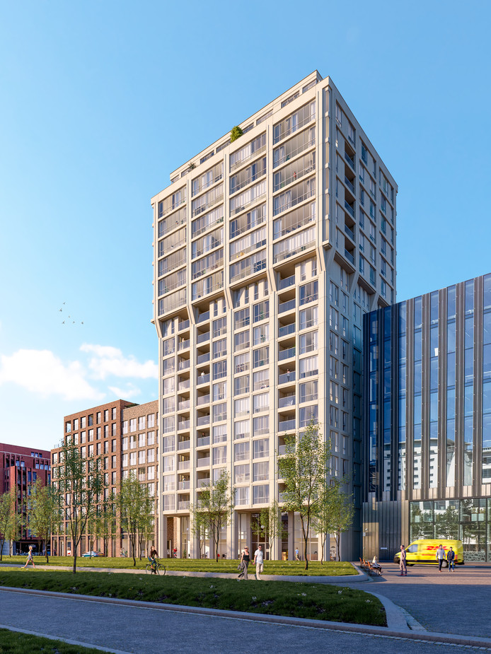 Woontoren Frits, onderdeel van S-West-project op Strijp-S, Torenallee, naast school SintLucas (rechts op de illustratie nog net te zien). Een ontwerp van JSA   jeroen schipper architecten voor MRP Development. Hier is plaats voor 87 koopappartementen.