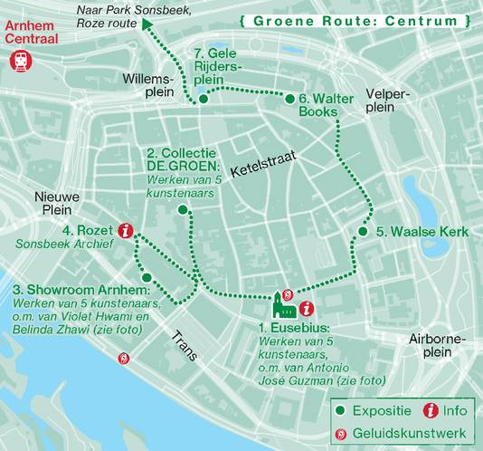 De groene route van de Sonsbeek-beeldententoonstelling.