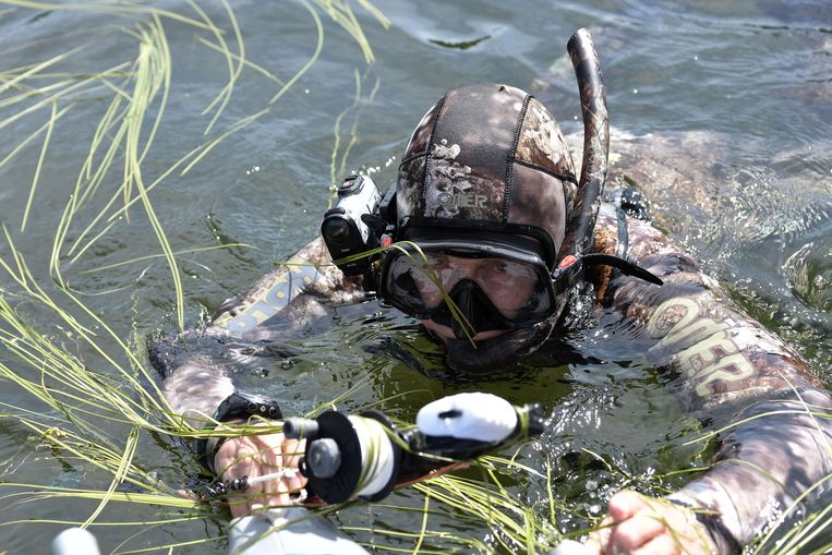 epa06125598 Russian President Vladimir Putin a diving suit enjoying a spear fishing at the cascade of mountain lakes during his vacation on 01-03 August 2017, in the Tyva Republic in the southern Siberia, Russia.  EPA/ALEXEI NIKOLSKY / SPUTNIK  / KREMLIN POOL MANDATORY CREDIT Beeld EPA
