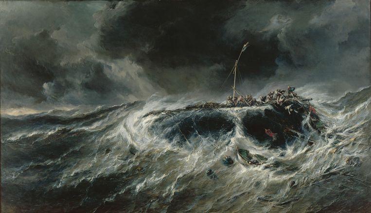 Eugène Isabey, De schipbreuk van de driemaster Emily in het jaar 1823, (1865) olie op doek, 200 x 345 cm, Musée d'Arts de Nantes. Beeld RMN - Grand Palais / Gérard Blot