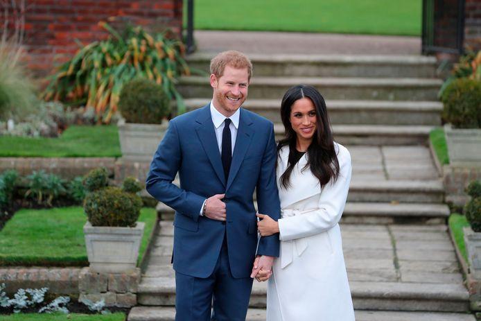 Harry et Meghan le 27 novembre 2017 lors de l'annonce de leurs fiançailles.
