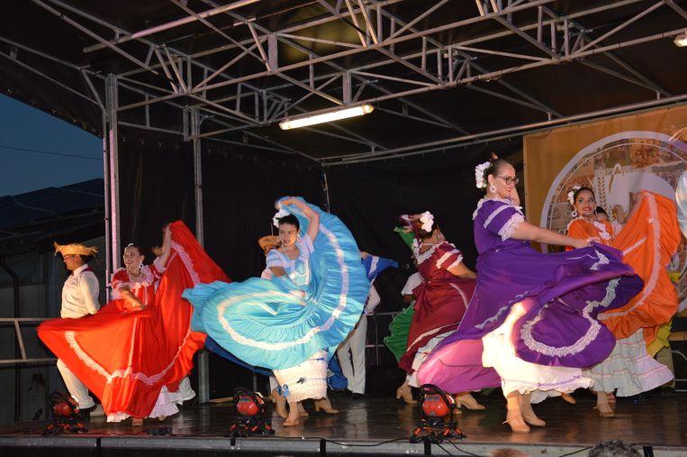 De buitenlandse groepen zorgen voor een kleurrijk spektakel tijdens de Pikkeling in Hof Ten Henne in Iddergem.