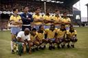 De teamfoto van Brazilië voor de wedstrijd tegen Portugal op het WK 1966 op Goodison Park, het stadion van Everton.