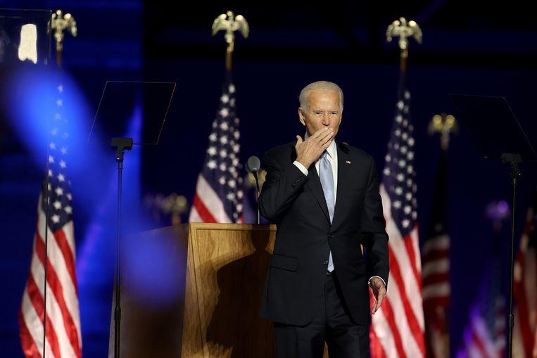 Joe Biden zaterdag bij zijn overwinningsspeech in zijn thuisstaat Delaware. Beeld Getty Images