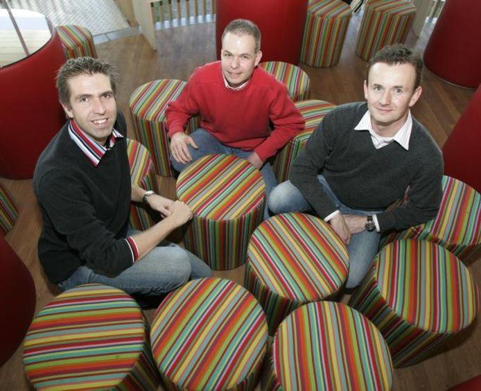 De drie puzzelmannen: vanaf links Rob van Gassel, Edwin van Veldhoven en Jurgen Heijmans.foto Irene Wouters