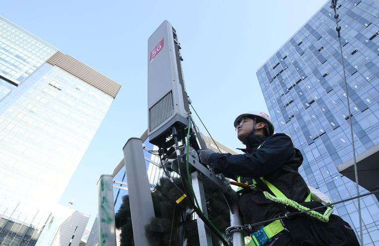 In Zuid-Korea is het 5G-netwerk woensdagnacht gelanceerd.  Beeld AFP