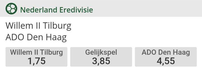 De odds van Toto.nl voor Willem II - ADO Den Haag.