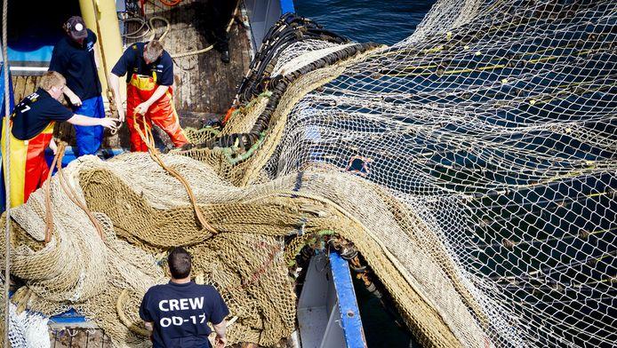 Vissers hangen netten uit voor de lancering van het merk Scheveninger'Best in Scheveningen