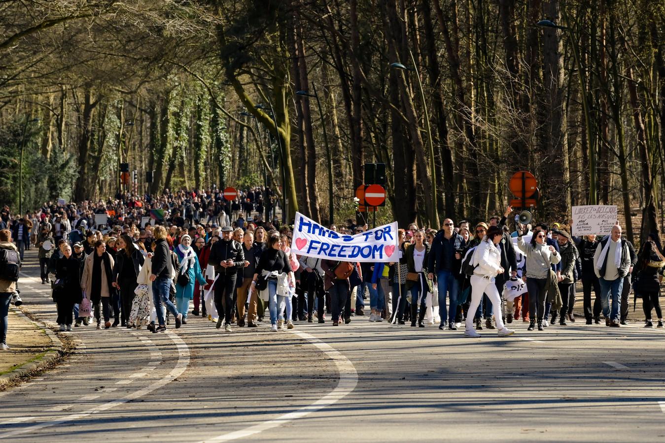 Manifestation contre les mesures sanitaire (Bruxelles, Bois de la Cambre, 20 mars)