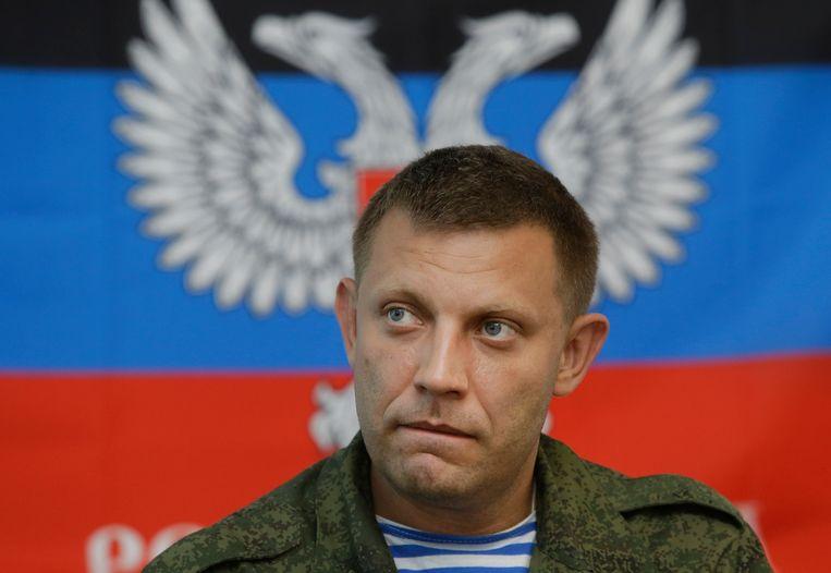 Zachartsjenko in 2014 tijdens een persconferentie in Donetsk.  Beeld AP