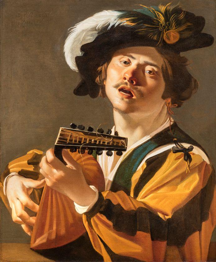 Een van de schilderingen die wél op de flatgevel zal verschijnen. Dirck van Baburen (ca 1592/93-1624), De luitspeler, 1622, Centraal Museum, Utrecht.