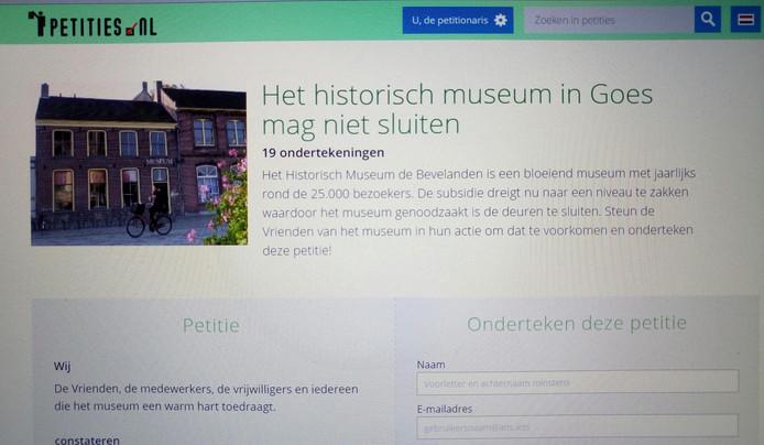 Petitie voor behoud Historisch Museum de Bevelanden