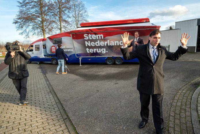 De onthulling van de campagnebus van Thierry Baudet eerder deze winter in Andelst.