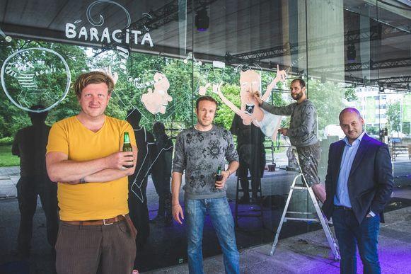 Baracita in opbouw: Stefaan, Wim, Gilles en Nicolas