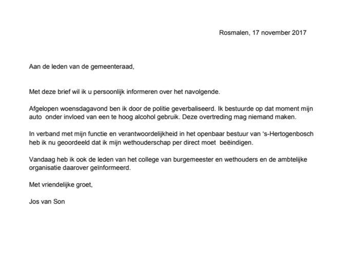 De brief van Van Son aan de gemeenteraad.