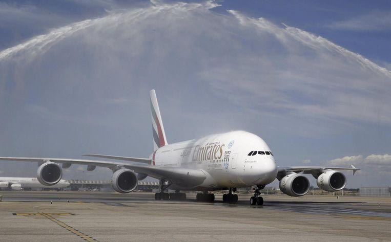 Een A380 wordt afgeleverd aan Emirates. Beeld epa