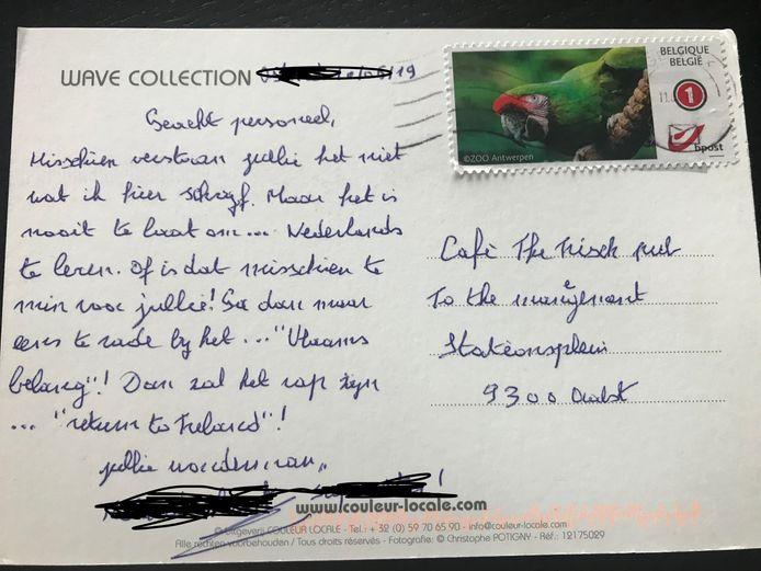 De postkaart die de uitbaters in de bus kregen.