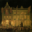 Jonkheer Van den Santheuvel verlichtte in 1874 zijn huizen aan de Voorstraat ter ere van het 25-jarig regeringsjubileum van koning Willem III. Links de Zakkendragersstraat. Tekening J. Rutten.